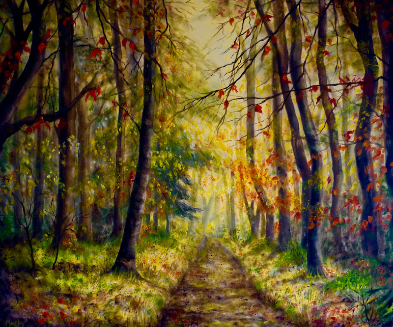 (CreativeWork) Autumn Glow by Cathy Yarwood - Mahy. arcylic-painting. Shop online at Bluethumb.
