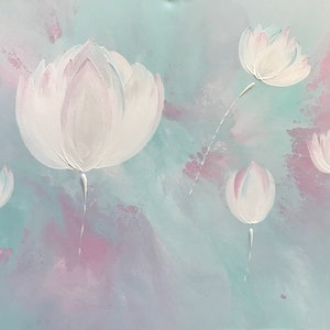 "(CreativeWork) ORIGINAL ABSTRACT ART PAINTING ON STRETCHED CANVAS  ""SURREAL LOTUS FLOWERS""  TURQUOISE PINK WHITE GREY by Debra Ryan. mixed-media. Shop online at Bluethumb."