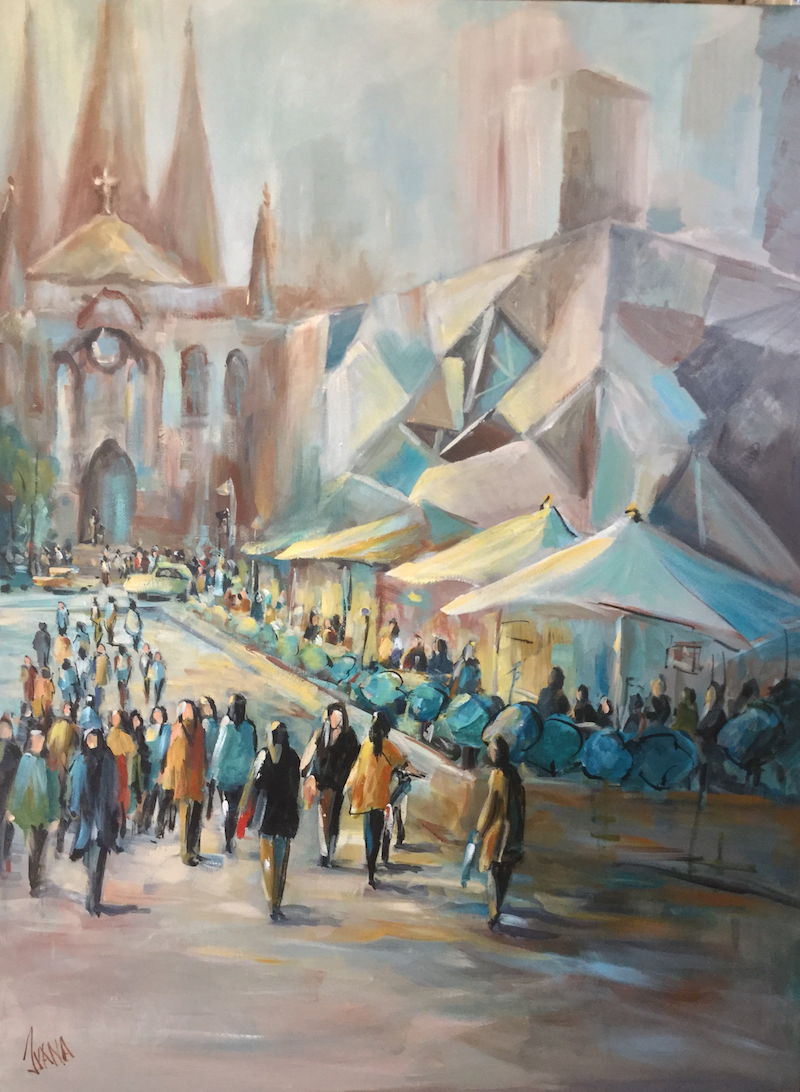 (CreativeWork) Shapes of Melbourne 2 by Ivana Pinaffo. arcylic-painting. Shop online at Bluethumb.