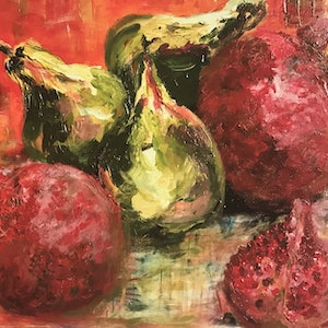(CreativeWork) Pomegranates and three pears Giclee print 1 Ed. 1 of 3 by Archana Sinh. print. Shop online at Bluethumb.