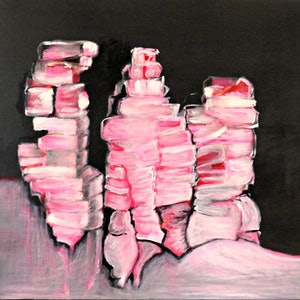 (CreativeWork) Abstract Three Sisters, Katoomba by Rachel Le Goff. arcylic-painting. Shop online at Bluethumb.