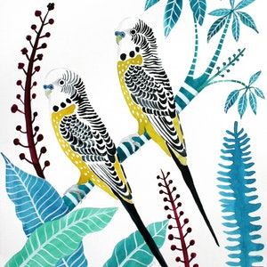 (CreativeWork) Yellow Budgies & Tropical Plants by Sally Browne. watercolour. Shop online at Bluethumb.