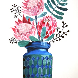 (CreativeWork) Jasba Vase with Proteas by Sally Browne. watercolour. Shop online at Bluethumb.