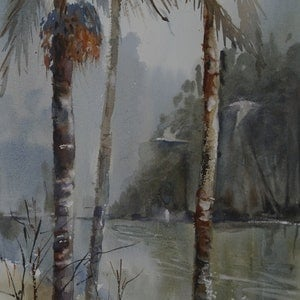 (CreativeWork) PALM TREES  by Anki Wickison. watercolour. Shop online at Bluethumb.