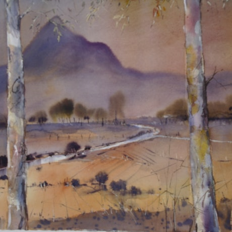 (CreativeWork) SETTING SUN , MT WARNING by Anki Wickison. Watercolour Paint. Shop online at Bluethumb.