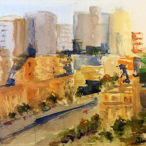 (CreativeWork) Spring Street Melbourne by Margaret Morgan (Watkins). watercolour. Shop online at Bluethumb.
