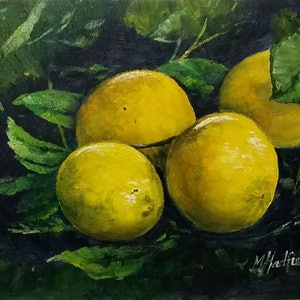 (CreativeWork) LEMON STUDY by Margaret HADFIELD. oil-painting. Shop online at Bluethumb.