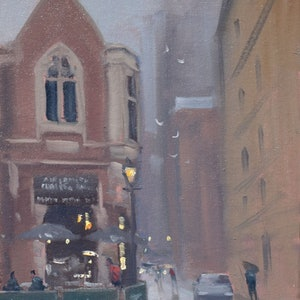 (CreativeWork) Adelaide Coffee Bar by Mike Barr. oil-painting. Shop online at Bluethumb.