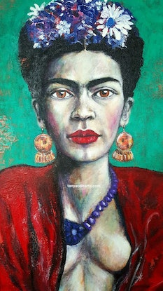 (CreativeWork) Fierce Frida Original Acrylic Painting by Tanya Cole. Acrylic Paint. Shop online at Bluethumb.