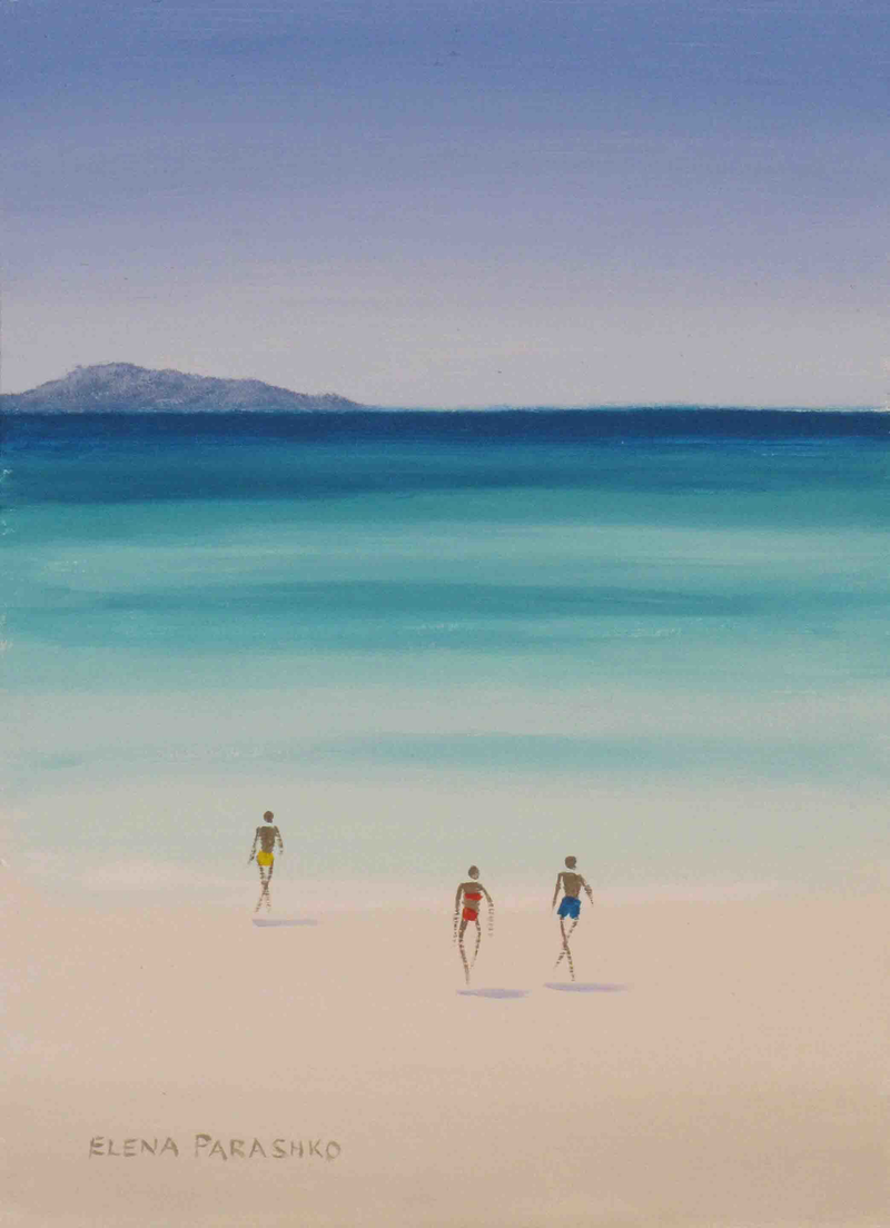 (CreativeWork) Lagoon Swim by Elena Parashko. oil-painting. Shop online at Bluethumb.