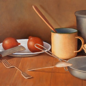 (CreativeWork) Still Life with Susie Ann Billycan by Bern Ferraz. oil-painting. Shop online at Bluethumb.