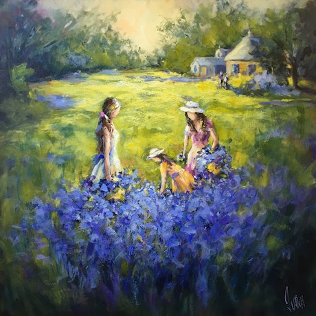 (CreativeWork) A helping hand at the lavender farm by Ivana Pinaffo. Acrylic Paint. Shop online at Bluethumb.