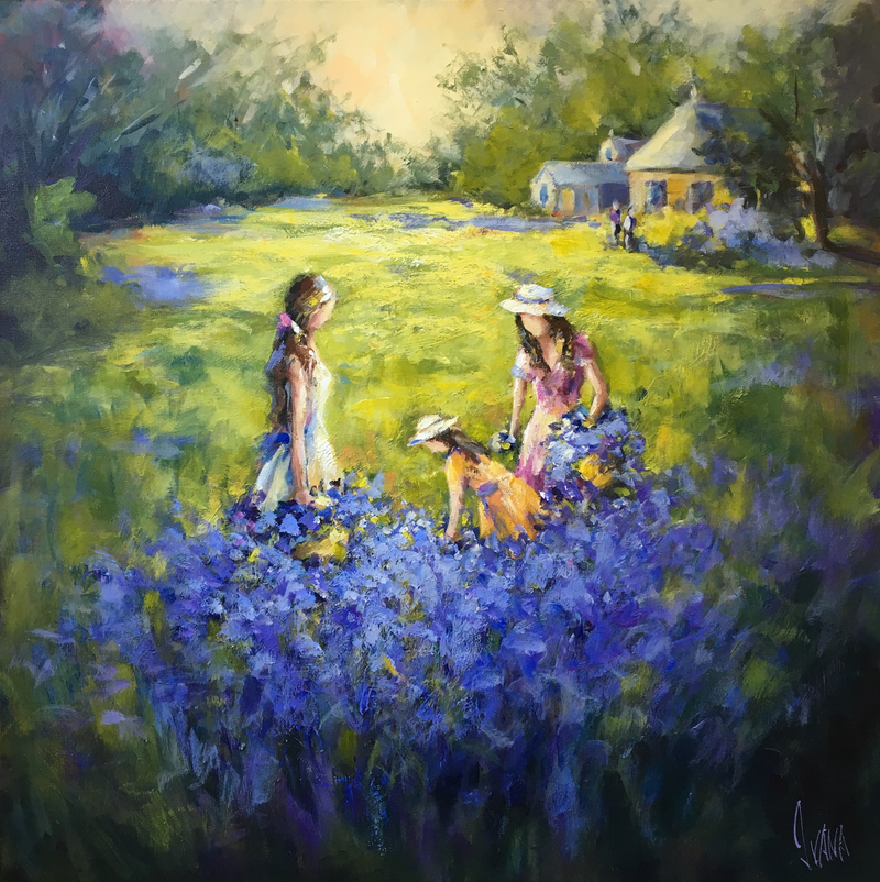 (CreativeWork) A helping hand at the lavender farm by Ivana Pinaffo. acrylic-painting. Shop online at Bluethumb.
