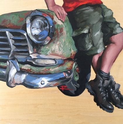 (CreativeWork) UTE feat. 1958 FC Holden by Rosa Fedele. oil-painting. Shop online at Bluethumb.