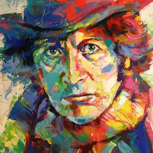 (CreativeWork) Dr Who 4, Tom Baker by Jos Coufreur. arcylic-painting. Shop online at Bluethumb.