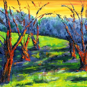 (CreativeWork) Fauve Trees by Lyndsey Hatchwell. oil-painting. Shop online at Bluethumb.
