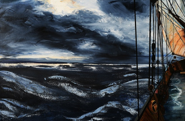(CreativeWork) Into the Storm by Fay 'O' Gelletly. Acrylic Paint. Shop online at Bluethumb.