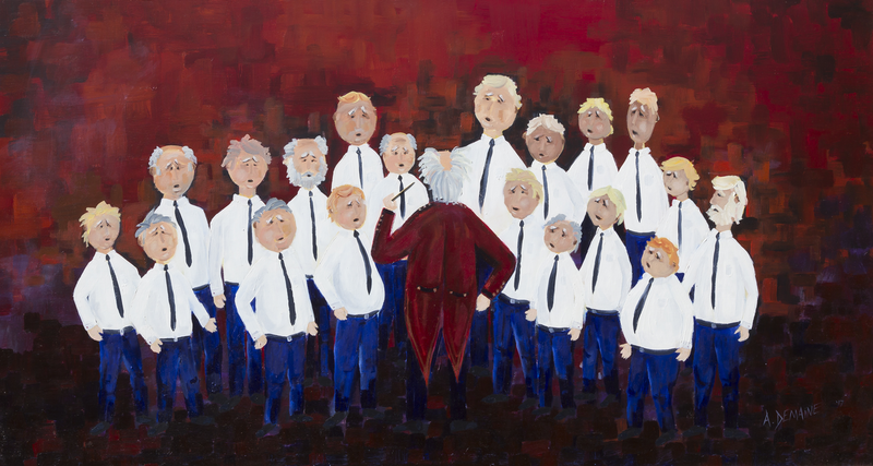 (CreativeWork) Male Voice Choir by Andrew Demaine. Oil Paint. Shop online at Bluethumb.