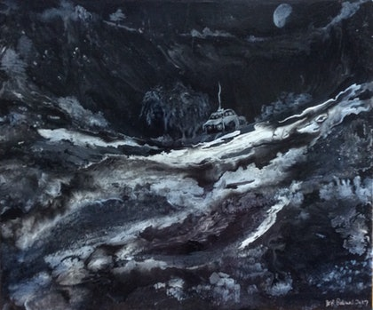 (CreativeWork) A Winter's Night by Deb Brown. arcylic-painting. Shop online at Bluethumb.