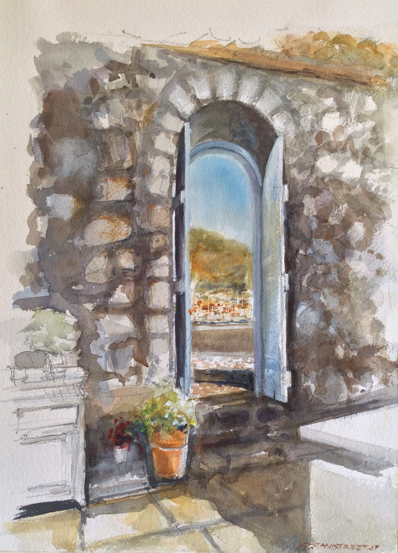 (CreativeWork) Restaurant ,  Hydra , Greece. by Geoff Stanistreet. Watercolour Paint. Shop online at Bluethumb.