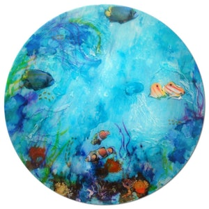 """(CreativeWork) """"Fish in a bowl"""" by linda bartlett. mixed-media. Shop online at Bluethumb."""
