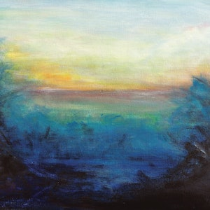 (CreativeWork) Last Light by Susan Ruming. acrylic-painting. Shop online at Bluethumb.