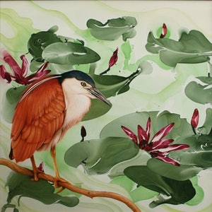 (CreativeWork) Rufous Night Heron by Steve Hillier. oil-painting. Shop online at Bluethumb.