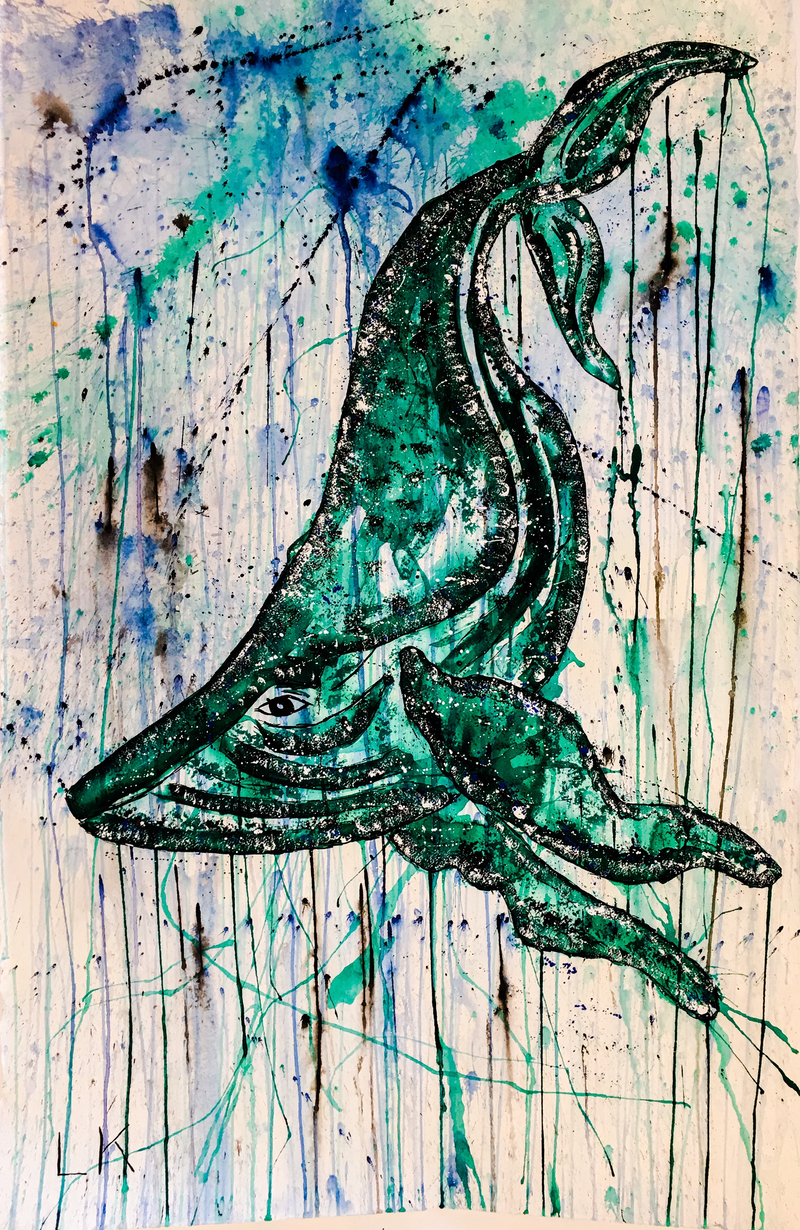 (CreativeWork) Blue Whale by Leith Kennedy. mixed-media. Shop online at Bluethumb.