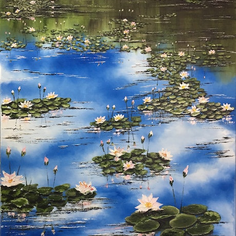 (CreativeWork) Peaceful Marsh by atefeh hekmat. Oil Paint. Shop online at Bluethumb.