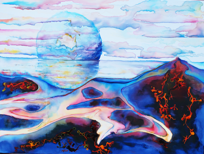 (CreativeWork) Earthrise Over Venus by Richard Roper. mixed-media. Shop online at Bluethumb.