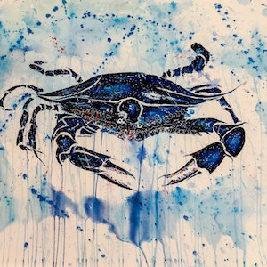 (CreativeWork) Blue Swimmer Crab by Leith Kennedy. mixed-media. Shop online at Bluethumb.