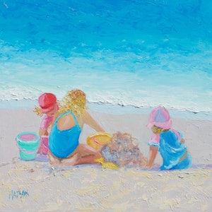 (CreativeWork) Building Sandcastles by Jan Matson. oil-painting. Shop online at Bluethumb.