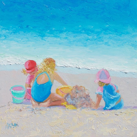 (CreativeWork) Framed beach art -Building Sandcastles  by Jan Matson. Oil Paint. Shop online at Bluethumb.