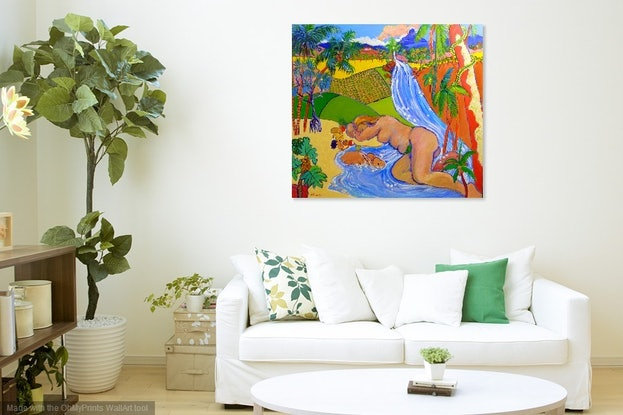 (CreativeWork) Paradise Creation ,Garden of Eden Queensland Style  by Virginia McGowan. Acrylic Paint. Shop online at Bluethumb.