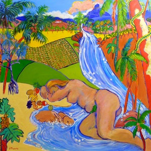 (CreativeWork) Paradise Creation ,Garden of Eden Queensland Style  by Virginia McGowan. acrylic-painting. Shop online at Bluethumb.