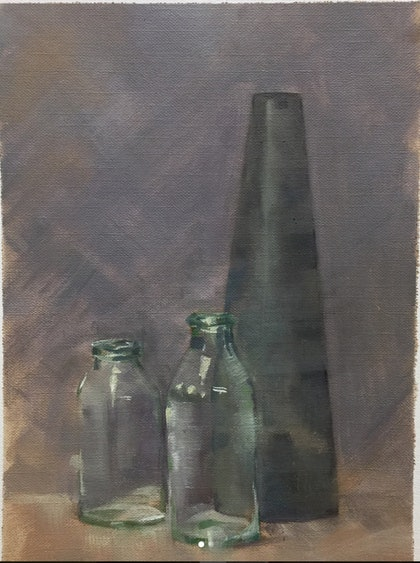 (CreativeWork) Still Life Moment2 by Jane Kanizay. oil-painting. Shop online at Bluethumb.