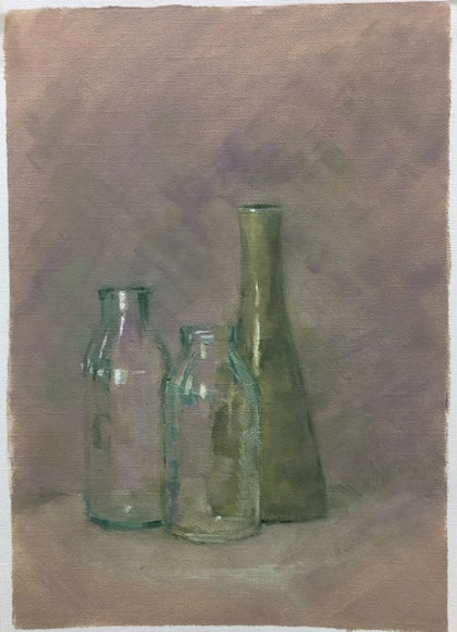 (CreativeWork) Still Life Moment 1 by Jane Kanizay. oil-painting. Shop online at Bluethumb.