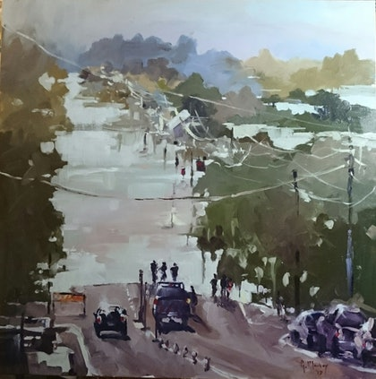(CreativeWork) Flood Street -Ballina Road 2017 by Glen Mackay. oil-painting. Shop online at Bluethumb.