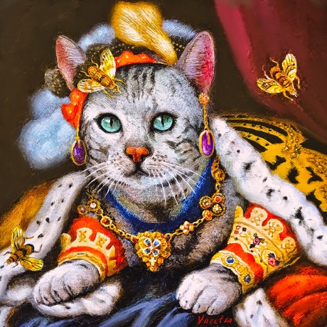 (CreativeWork) Cat with golden bees by Valentin Varetsa. Oil Paint. Shop online at Bluethumb.