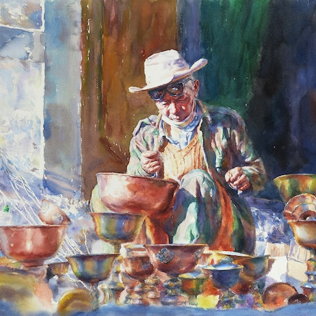 (CreativeWork) Craftsman by Richard(Tiejun) Chao. Watercolour Paint. Shop online at Bluethumb.