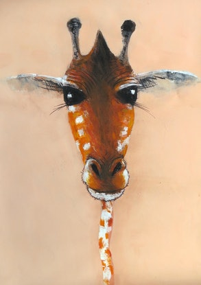 (CreativeWork) Pink Giraffe  by John Graham. Mixed Media. Shop online at Bluethumb.