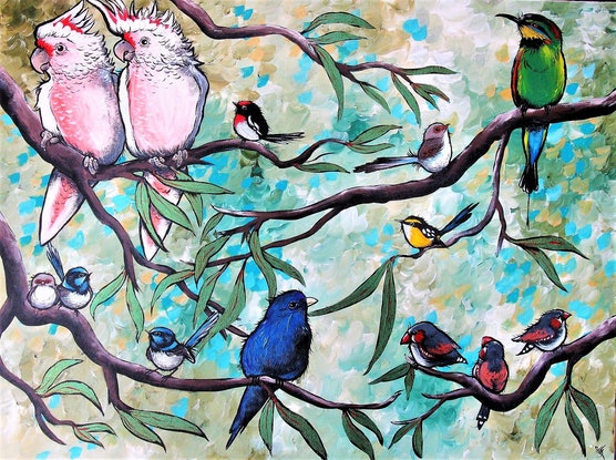 (CreativeWork) Colour in the Treetops by Sally Ford. Acrylic Paint. Shop online at Bluethumb.