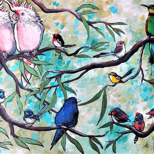 (CreativeWork) Colour in the Treetops by Sally Ford. arcylic-painting. Shop online at Bluethumb.