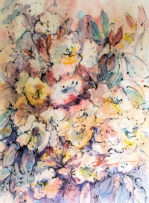 (CreativeWork) Mountain Blooms by Pamela Fairburn. Watercolour Paint. Shop online at Bluethumb.