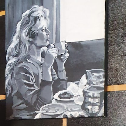 (CreativeWork) Black Coffee Rendezvous by Pascale Garlinge. Acrylic Paint. Shop online at Bluethumb.