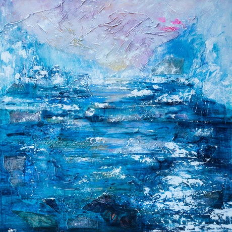 (CreativeWork) Through the Channel by Pamela Fairburn. Mixed Media. Shop online at Bluethumb.