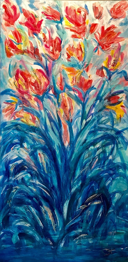 (CreativeWork) Tulips  by Andriana Treasure. mixed-media. Shop online at Bluethumb.