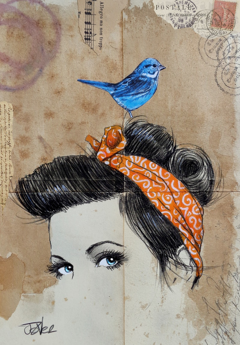 Bird On A Wire By Loui Jover Paintings For Sale Bluethumb Online