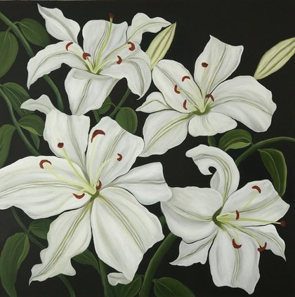 (CreativeWork) Continental lilies........ by Dinesha Costa. arcylic-painting. Shop online at Bluethumb.