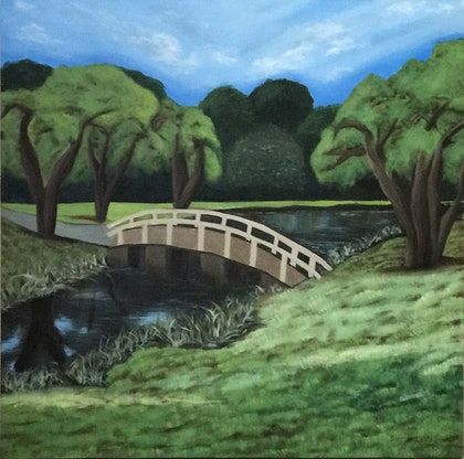 (CreativeWork) Let's cross the bridge... by Dinesha Costa. oil-painting. Shop online at Bluethumb.